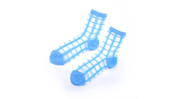 Pastel Blue Sheer Checkered Socks
