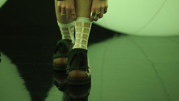 White Sheer Checker Socks