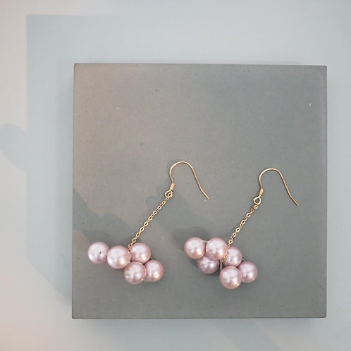 FALALALALA ROSE PINK PEARL DROP EARRINGS | CLOUD SHAPE