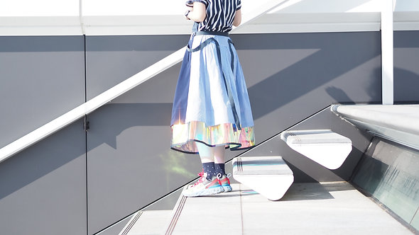 Holographic Transparent Stripe Layered Blue Skirt
