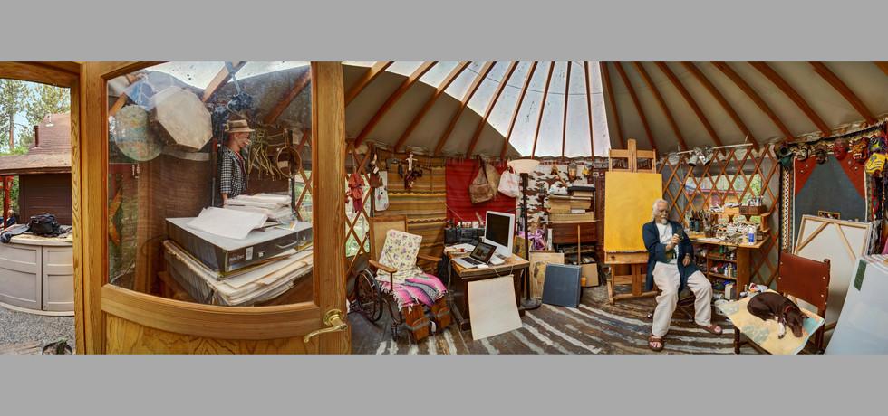 Ed B. in his Yurt Studio, Westwood, Ca