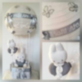 hot air balloon grijs met naam