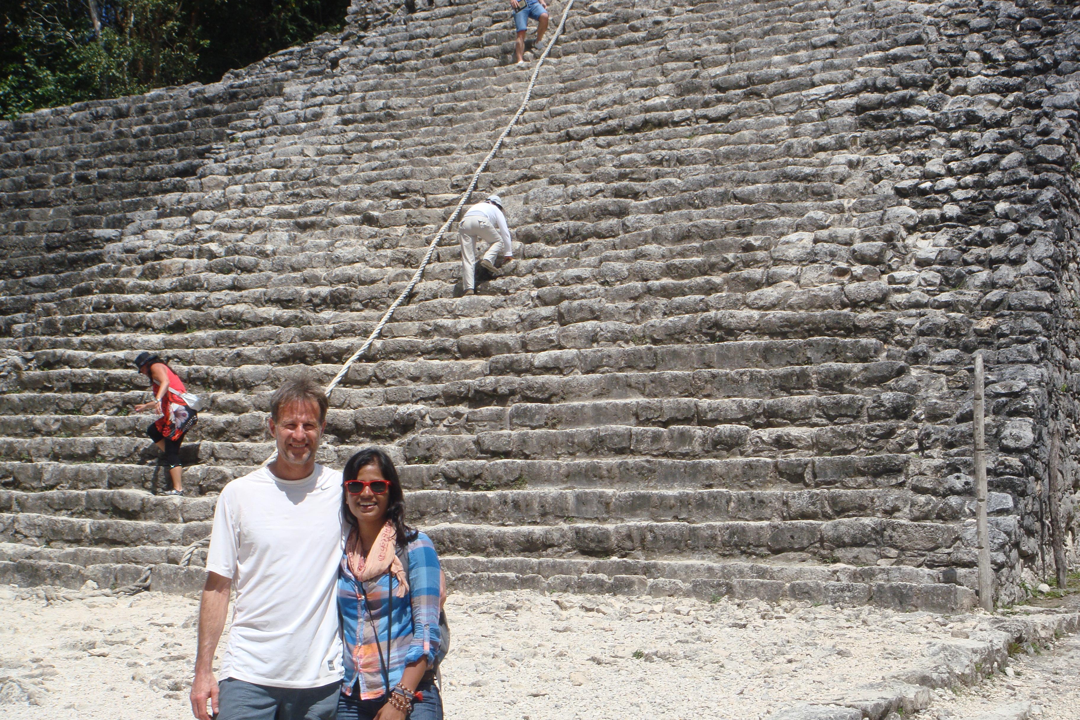 Exploring the Mayan ruins.