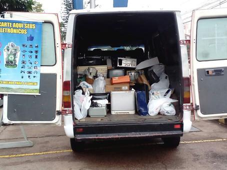 Coleta itinerante recolhe 223 quilos de resíduos eletrônicos