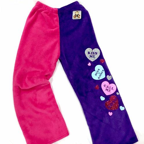 Minky Pajama Pants - Two-Toned w/Conversational Hearts