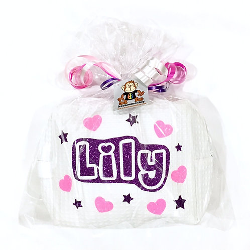 Savvy Spa Bag w/Name, Hearts, Stars & Peace Signs