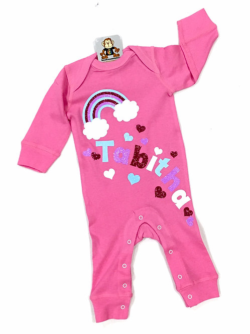 Girls Union Suit  - Name and Hearts Only