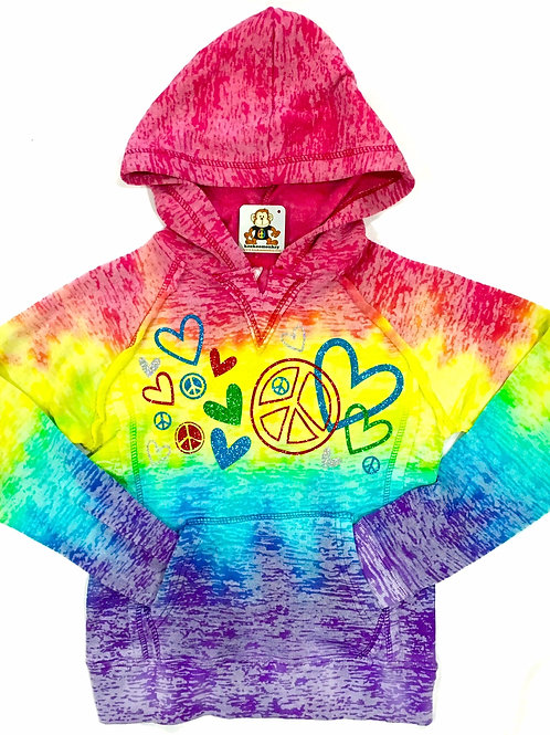 Rainbow Burnout Pullover Hoodie w/Lots of Hearts/Peace Signs/Stars Across Front