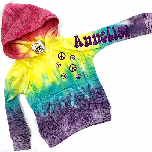 Rainbow Burnout Pullover Hoodie w/Name, Hearts, Stars, or Peace Signs