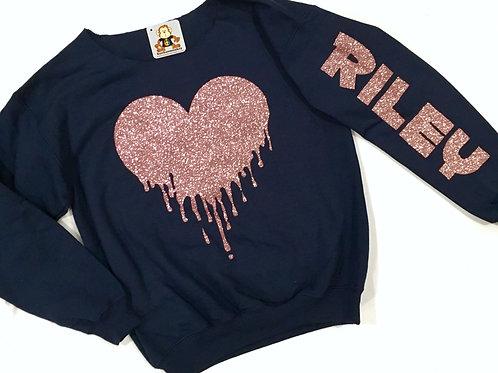 Drip Heart Off Shoulder Sweatshirt - Adult Size