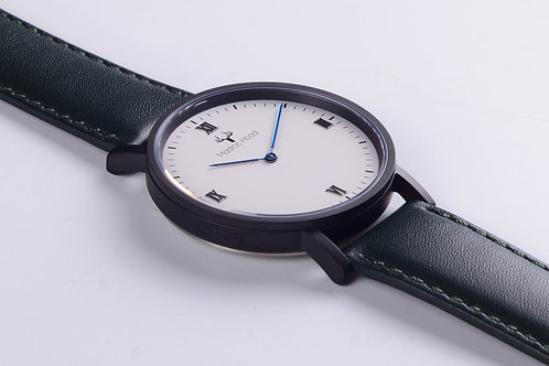 Singularity - Minimalist White Watch (Matte Black Case)