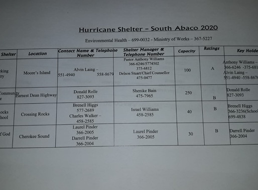 Updated List of Hurricane Shelters