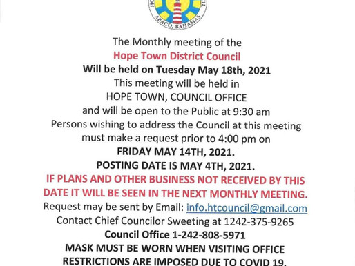 Hope Town District Council Notices