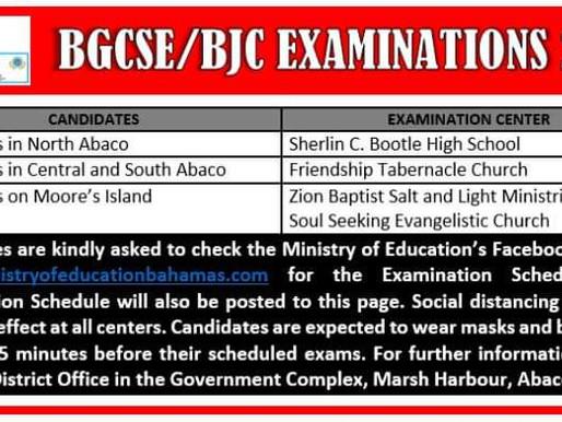 Abaco BGCSE/BJC Examinations 2020