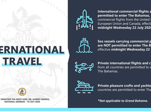 Americans Permitted to Enter The Bahamas by Private Plane or Non Commercial Boat.
