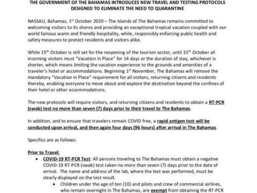 No Quarantine and New Protocols After November 1st