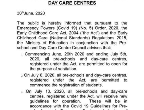 Pre-Schools and Day Care's Can Open in July