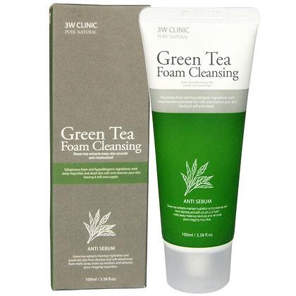 Пенка для умывания зелёный чай. 3WClinic