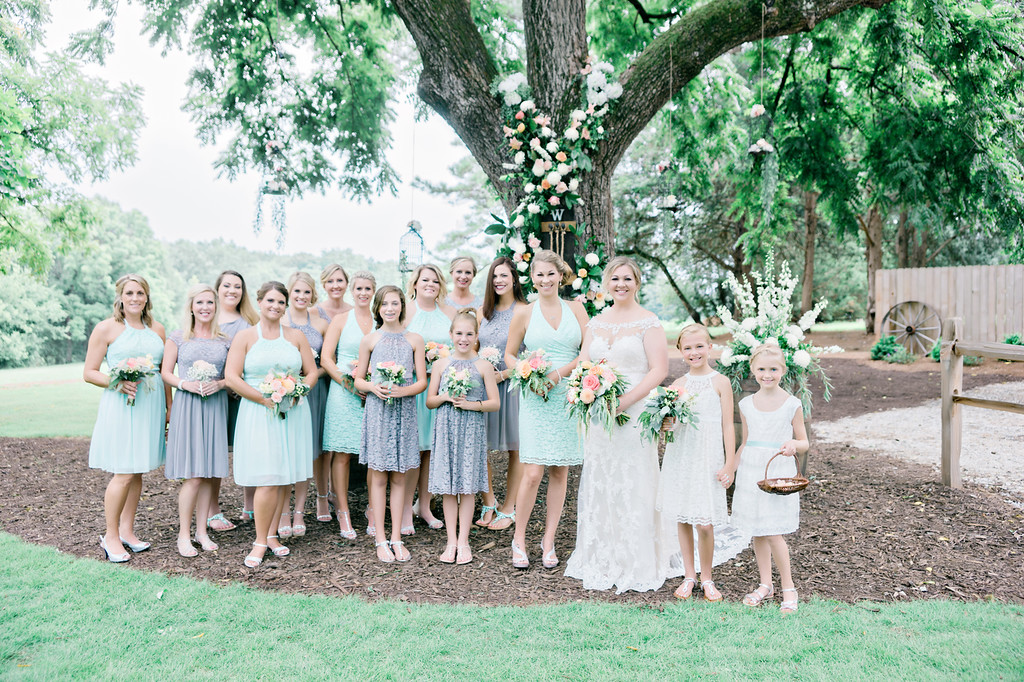 Bridesmaids by the Tree