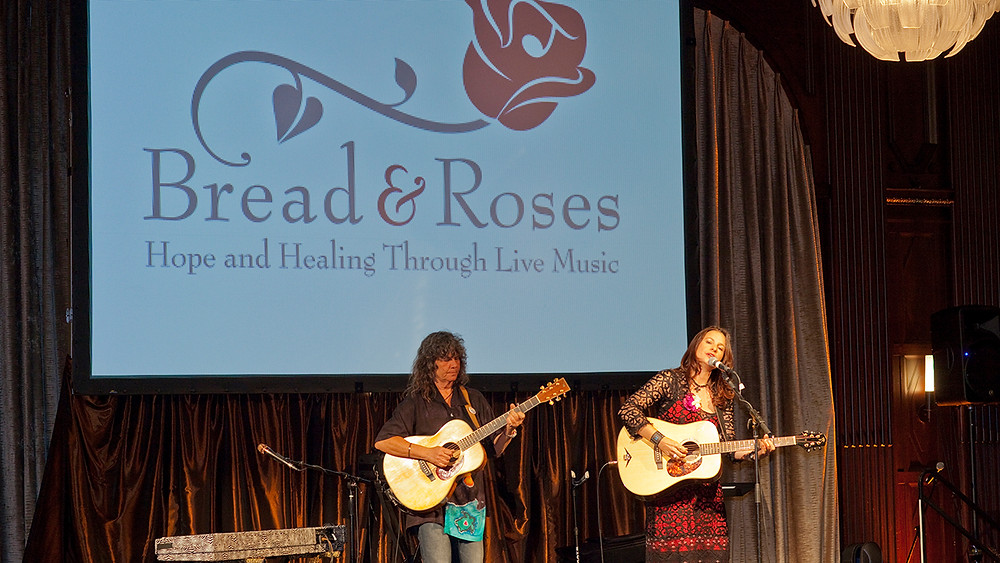 Audrey Auld and Nina Gerber perform at Bread & Roses Benefit Concert. Photo by Ken Friedman.