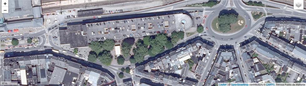 Vue aérienne, site existant - parking