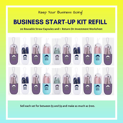 Business Start-Up Kit Refill Reusable Straws (20 sets)
