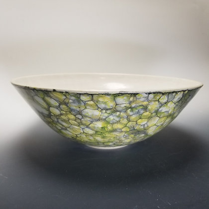 Large Yellow and Grey Marbleized Bowl