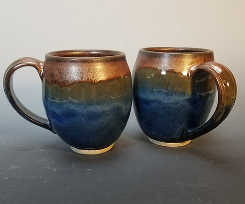 Copper and Sapphire Blue Mugs