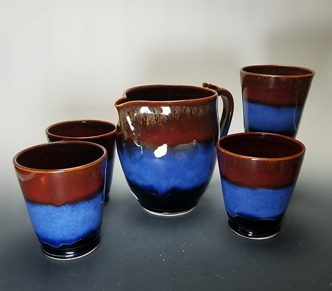 Triple Band Pitcher and Tumbler Set