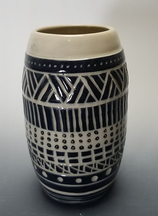 Contemporary Carved Black and White Vase