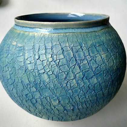 Intense Blue Crackle Vase