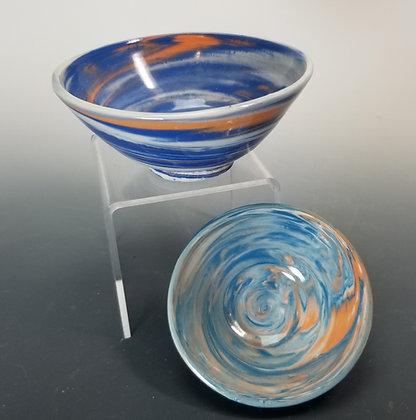 Small Bowls Agateware  Blue/orange Green/orange