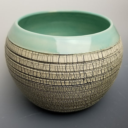Crackle Vase with Turquoise Rim