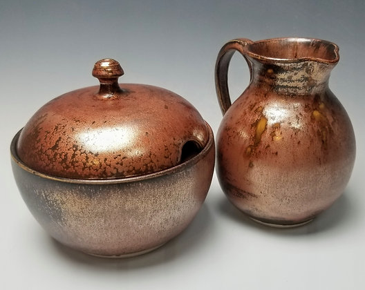 Ancient Copper Sugar and Creamer