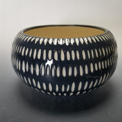 Contemporary Carved Black and White Bowl