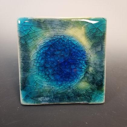 Blue Green Glass Hot Plate