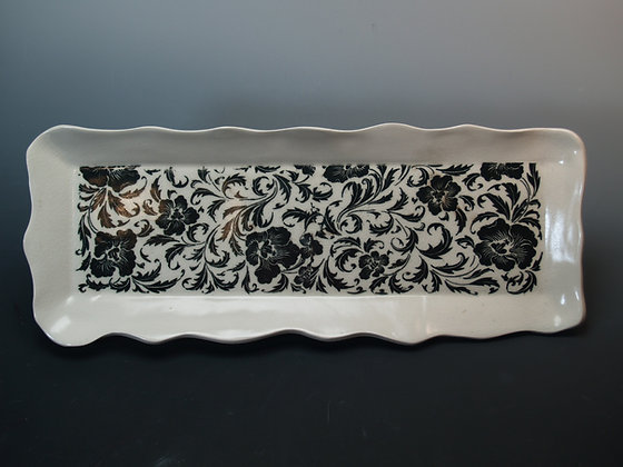 White Porcelain Tray with Baroque Black Flowers