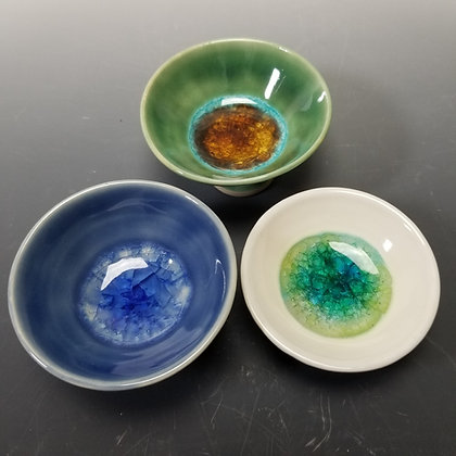 Small Bowls with Glass, Blue , Green or White