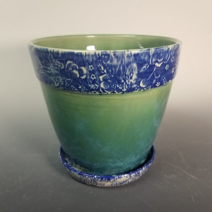 Planter with Jewel Green and Blue Flower Transfer Underglaze