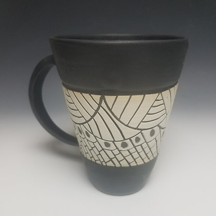 Black Porcelain Sgraffito Mug