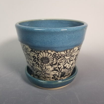 Planter  with Turquoise Blue and Black Transfer Underglaze