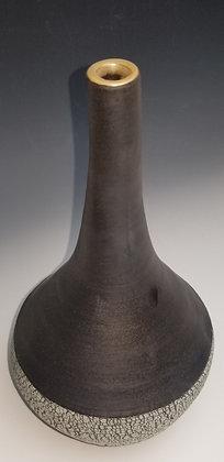 Black Matt and Crackle Narrow Neck Vase