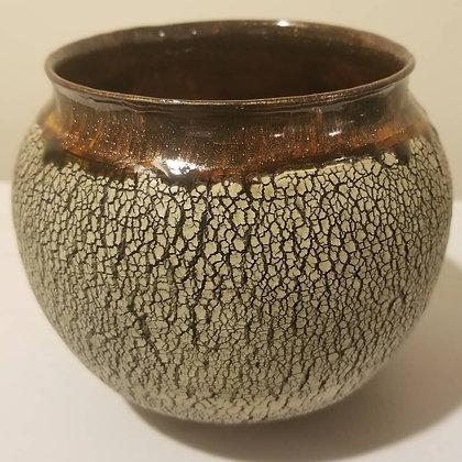 Brown Lip Crackle Vase