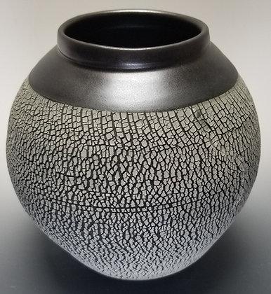 Crackle Vase with Black Shoulder