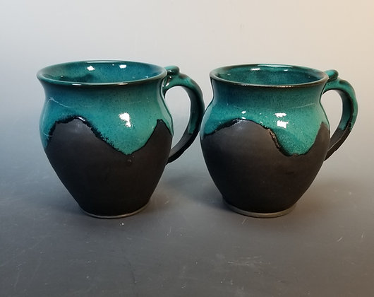 Black Porcelain with Deep Turquoise Mug