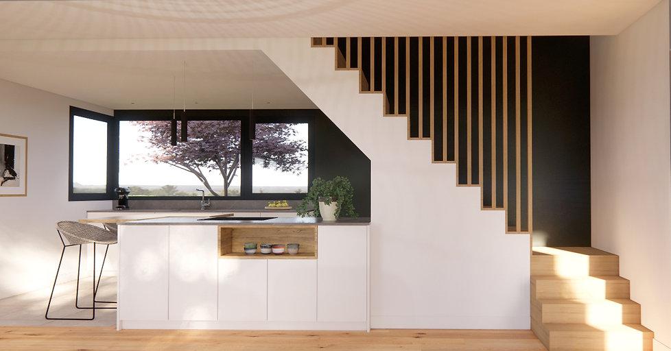 Garde corps escalier - cuisine - agencement - architecture d'intérieur - quimper - concarn