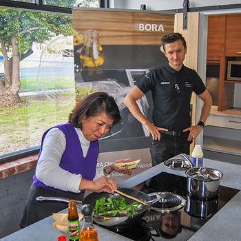 Live cooking demonstration at SALTWOOD build kitchen showroom