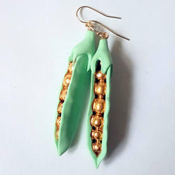 pea green and gold earrings.