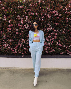 vintage baby blue suit outfit