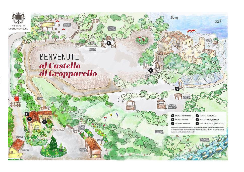 Piantina del parco del Castello di Gropp